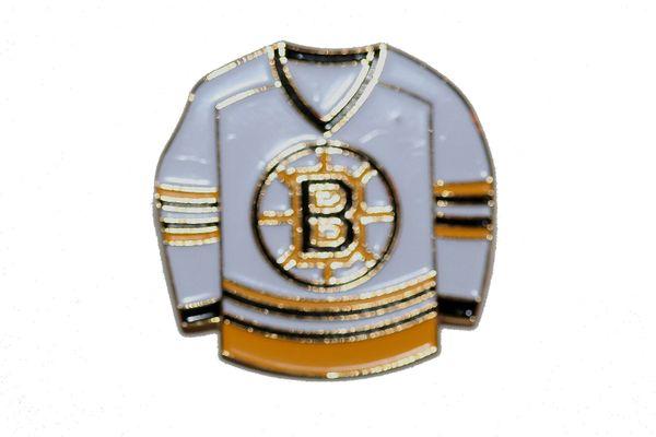 BOSTON BRUINS WHITE JERSEY NHL LOGO METAL LAPEL PIN BADGE .. NEW