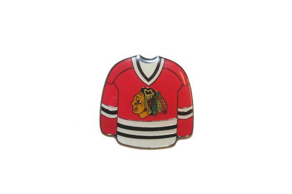 CHICAGO BLACKHAWKS RED JERSEY NHL LOGO METAL LAPEL PIN BADGE .. NEW