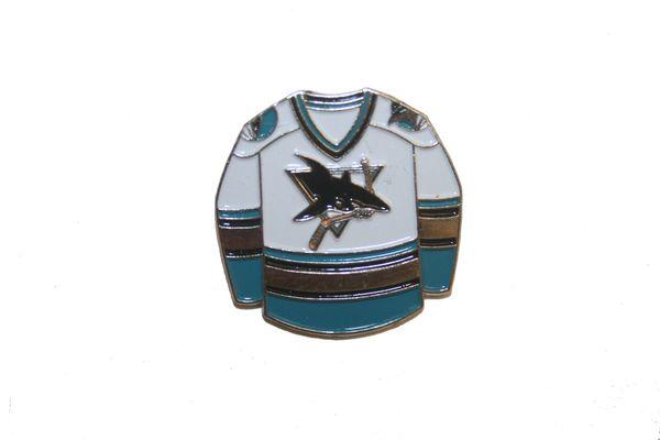 SAN JOSE SHARKS WHITE NHL LOGO METAL LAPEL PIN BADGE .. NEW