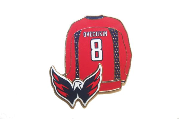 ALEXANDER OVECHKIN #8 - WASHINGTON CAPITALS NHL LOGO METAL LAPEL PIN BADGE .. NEW