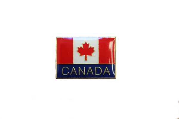 CANADA WITH WORD SQUARE COUNTRY FLAG LAPEL PIN BADGE .. NEW AND IN A PACKAGE