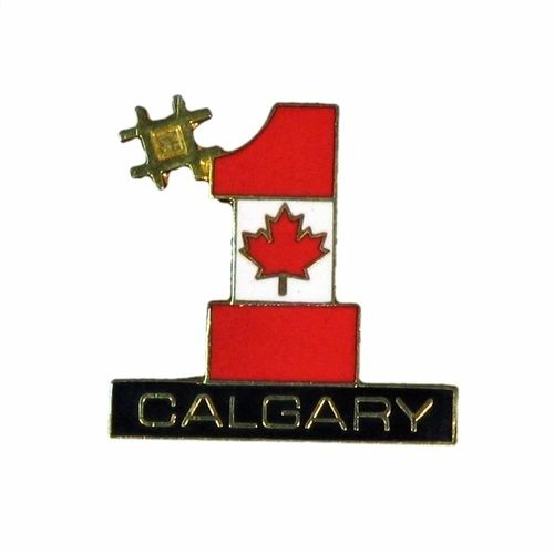 CALGARY #1 COUNTRY FLAG LAPEL PIN BADGE .. NEW AND IN A PACKAGE