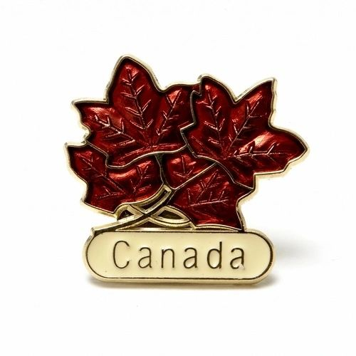 4 RED MAPLE LEAFS WITH WORD LAPEL PIN BADGE .. NEW AND IN A PACKAGE