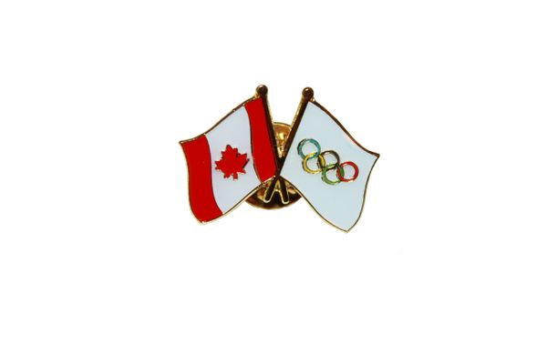 CANADA & OLYMPIC GAMES FLAGS LAPEL PIN BADGE .. NEW AND IN A PACKAGE