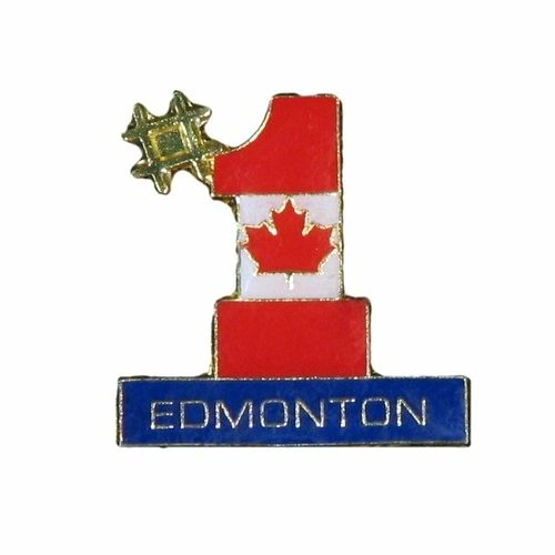EDMONTON #1 CANADA COUNTRY FLAG LAPEL PIN BADGE .. NEW AND IN A PACKAGE