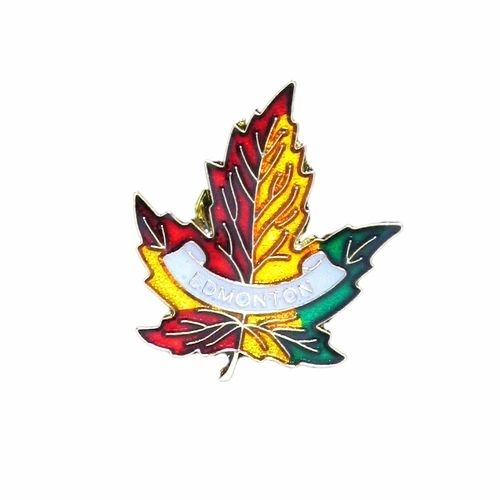 EDMONTON 3 COL0R MAPLE LEAF LAPEL PIN BADGE .. NEW AND IN A PACKAGE