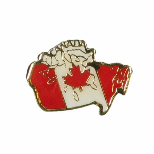 CANADA COUNTRY FLAG IN CANADA MAP SHAPE LAPEL PIN BADGE .. NEW AND IN A PACKAGE