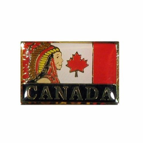 NATIVE CHIEF & CANADA COUNTRY FLAG WITH WORD LAPEL PIN BADGE .. NEW AND IN A PACKAGE