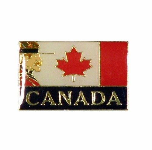 MOUNTIE & CANADA COUNTRY FLAG WITH WORD LAPEL PIN BADGE .. NEW AND IN A PACKAGE