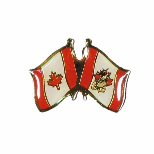 CANADA & NATIVE FRIENDSHIP COUNTRY FLAGS LAPEL PIN BADGE .. NEW AND IN A PACKAGE
