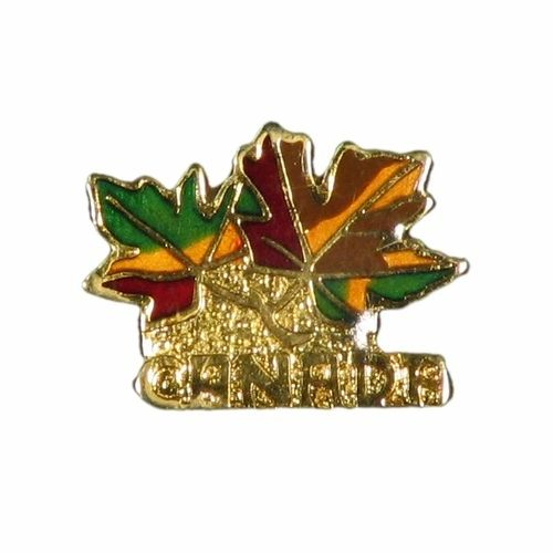 2 COLORED MAPLE LEAFS WITH WORD LAPEL PIN BADGE .. NEW AND IN A PACKAGE