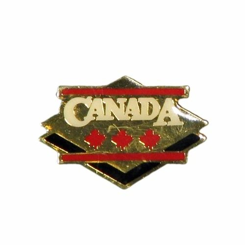 GOLD DIAMOND WITH WORD & 3 MAPLE LEAFS METAL LAPEL PIN BADGE .. NEW AND IN PACKAGE