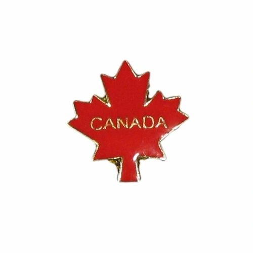 CANADA IN MAPLE LEAF LAPEL PIN BADGE .. NEW AND IN A PACKAGE