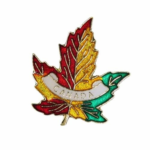 3 COLORED MAPLE LEAF WITH WORD LAPEL PIN BADGE .. NEW AND IN A PACKAGE