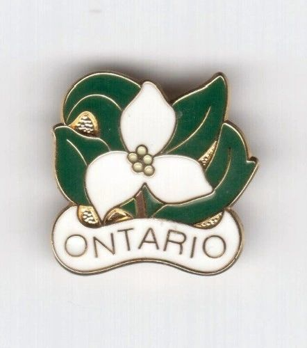 "TRILLIUM FLOWER WIYH CAPTION "" ONTARIO"" LAPEL PIN BADGE .. NEW AND IN A PACKAGE"
