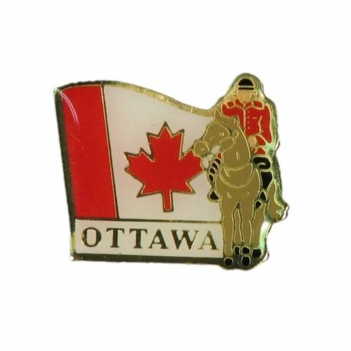 "MOUNTIE WITH CAPTION ""OTTAWA"" LAPEL PIN BADGE .. NEW AND IN A PACKAGE"