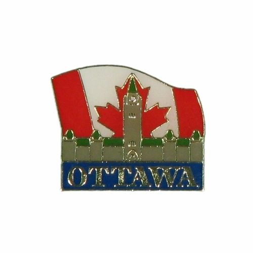 """PARLIAMENT & COUNTRY FLAG WITH CATION """"OTTAWA"""" LAPEL PIN BADGE .. NEW AND IN A PACKAGE"""