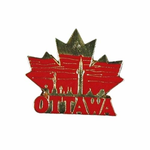 OTTAWA LEAF SKYLINE LAPEL PIN BADGE .. NEW AND IN A PACKAGE