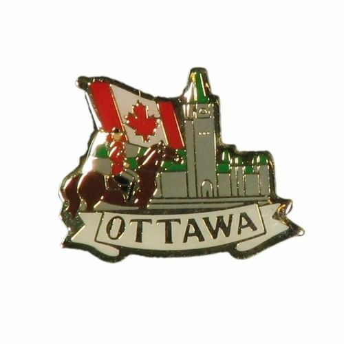 "PARLIAMENT & MOUNTIE POLICE & COUNTRY FLAG WITH CAPTION ""OTTAWA"" METAL LAPEL PIN BADGE .. NEW AND IN A PACKAGE"
