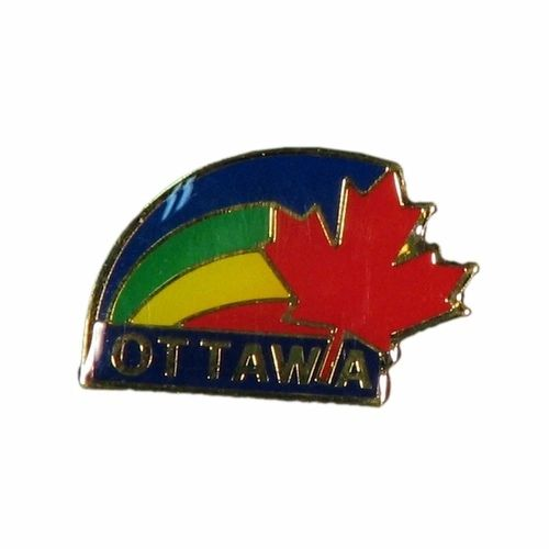 "RED MAPLE LEAF & RAINBOW WITH CAPTION ""OTTAWA"" METAL LAPEL PIN BADGE .. NEW AND IN A PACKAGE"