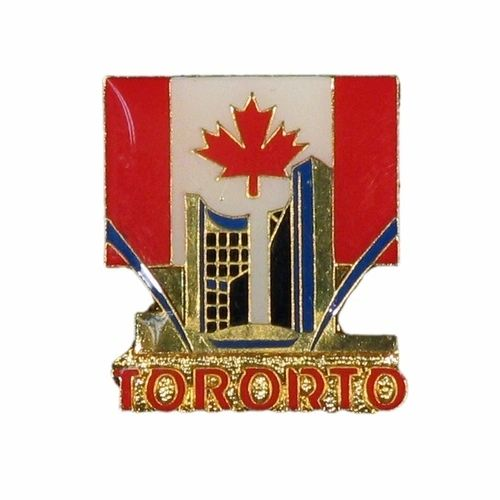 TORONTO CITY HALL & CANADA COUNTRY FLAG WITH WORD METAL LAPEL PIN BADGE .. NEW AND IN A PACKAGE