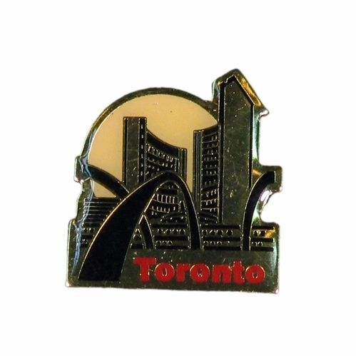 "TORONTO GOLD CITY HALL WITH CAPTION ""TORONTO"" METAL LAPEL PIN BADGE .. NEW AND IN A PACKAGE"