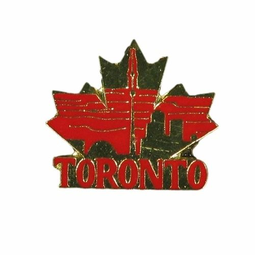 TORONTO RED WITH GOLD MAPLE LEAF SMALL METAL LAPEL PIN BADGE .. NEW AND IN A PACKAGE