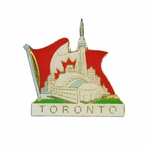 TORONTO SKYLINE IN FLAG METAL LAPEL PIN BADGE .. NEW AND IN A PACKAGE