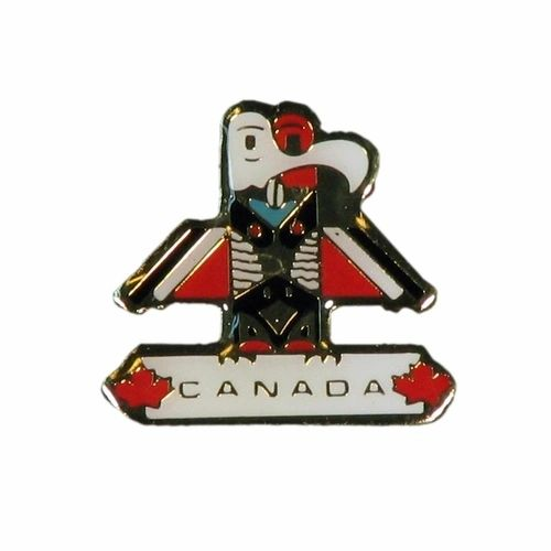 """TOTEM POLE WITH CAPTION """"CANADA"""" METAL LAPEL PIN BADGE .. NEW AND IN A PACKAGE"""