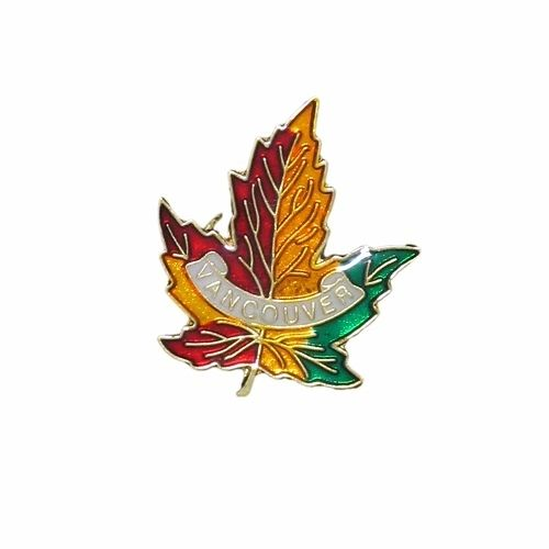 VANCOUVER 3 COLOR MAPLE LEAF METAL LAPEL PIN BADGE .. NEW AND IN A PACKAGE