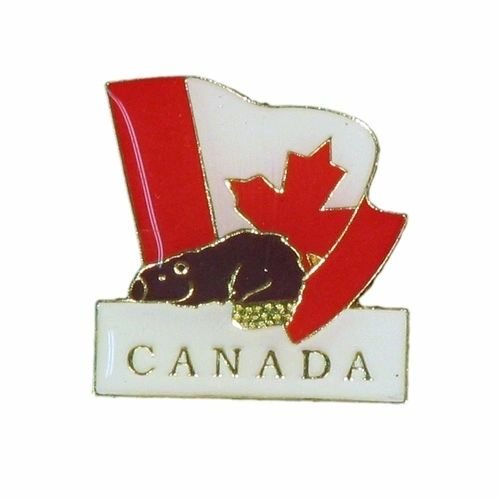 BEAVER & WAVY COUNTRY FLAG WITH WORD METAL LAPEL PIN BADGE .. NEW AND IN A PACKAGE
