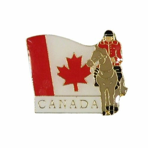 MOUNTIE & WAVY COUNTRY FLAG WITH WORD METAL LAPEL PIN BADGE .. NEW AND IN A PACKAGE