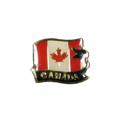 WAVY COUNTRY FLAG WITH BLACK RIBBON METAL LAPEL PIN BADGE .. NEW AND IN A PACKAGE