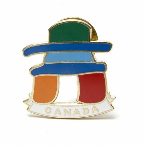 INUKSHUK WITH WORD LAPEL PIN BADGE .. NEW AND IN A PACKAGE