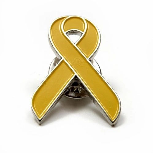 RIBBON YELLOW LAPEL PIN BADGE .. NEW AND IN A PACKAGE