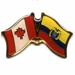 CANADA & ECUADOR FRIENDSHIP COUNTRY FLAG LAPEL PIN BADGE .. NEW AND IN A PACKAGE