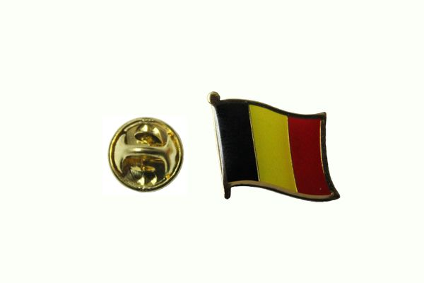 BELGIUM NATIONAL COUNTRY FLAG METAL LAPEL PIN BADGE .. 3/4 X 3/4 INCH .. NEW