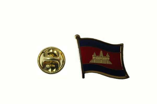 CAMBODIA NATIONAL COUNTRY FLAG METAL LAPEL PIN BADGE . 3/4 X 3/4 INCH .. NEW
