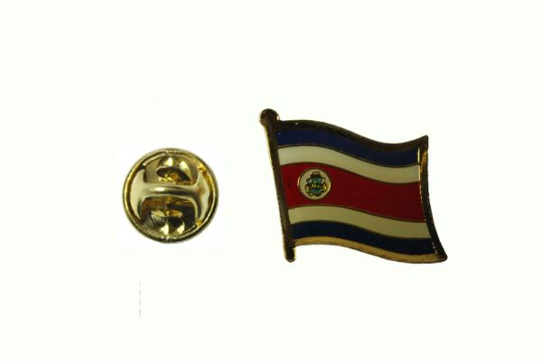 COSTA RICA NATIONAL COUNTRY FLAG METAL LAPEL PIN BADGE .. 3/4 X 3/4 INCH .. NEW