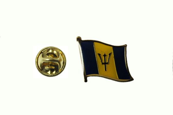 BARBADOS NATIONAL COUNTRY FLAG METAL LAPEL PIN BADGE .. 3/4 X 3/4 INCH .. NEW