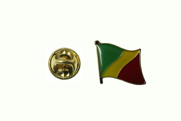CONGO REPUBLIC NATIONAL COUNTRY FLAG METAL LAPEL PIN BADGE .. 3/4 X 3/4 INCH .. NEW