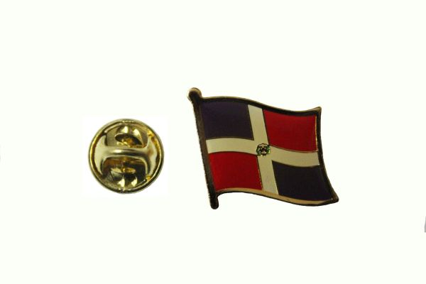 DOMINICAN REPUBLIC NATIONAL COUNTRY FLAG METAL LAPEL PIN BADGE .. 3/4 X 3/4 INCH .. NEW