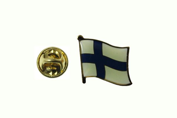 FINLAND SUOMI NATIONAL COUNTRY FLAG METAL LAPEL PIN BADGE .. 3/4 X 3/4 INCH .. NEW