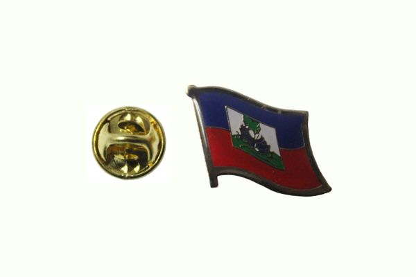 HAITI NATIONAL COUNTRY FLAG METAL LAPEL PIN BADGE ... 3/4 X 3/4 INCH .. NEW