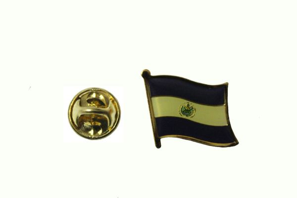 EL SALVADOR NATIONAL COUNTRY FLAG METAL LAPEL PIN BADGE ... 3/4 X 3/4 INCH .. NEW