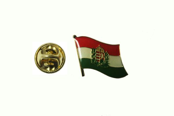 HUNGARY WITH CREST NATIONAL COUNTRY FLAG METAL LAPEL PIN BADGE ... 3/4 X 3/4 INCH .. NEW