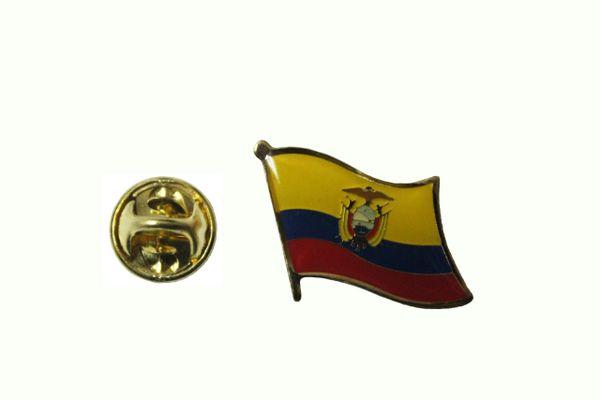 ECUADOR NATIONAL COUNTRY FLAG METAL LAPEL PIN BADGE .... 3/4 X 3/4 INCH .. NEW