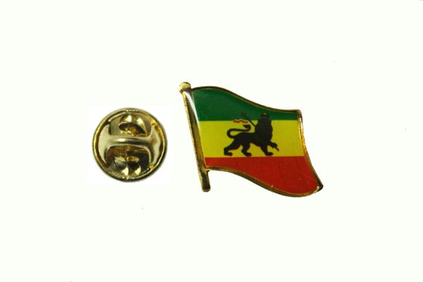 ETHIOPIA LION OF JUDAH NATIONAL COUNTRY FLAG METAL LAPEL PIN BADGE .. 3/4 X 3/4 INCH .. NEW