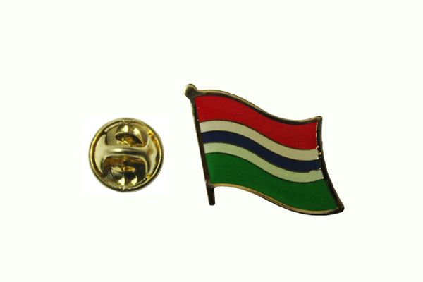 GAMBIA NATIONAL COUNTRY FLAG METAL LAPEL PIN BADGE .. 3/4 X 3/4 INCH ... NEW
