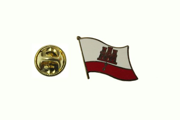 GIBRALTAR NATIONAL COUNTRY FLAG METAL LAPEL PIN BADGE .. 3/4 X 3/4 INCH ... NEW
